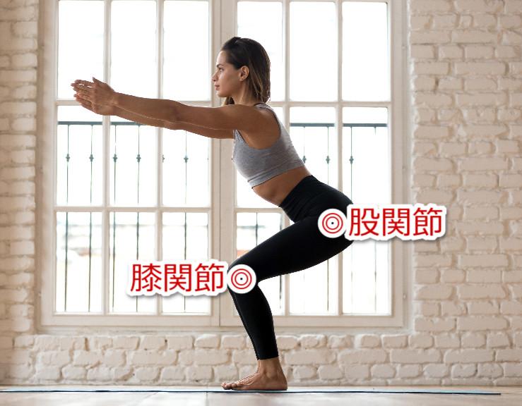 スクワットでの膝関節と股関節