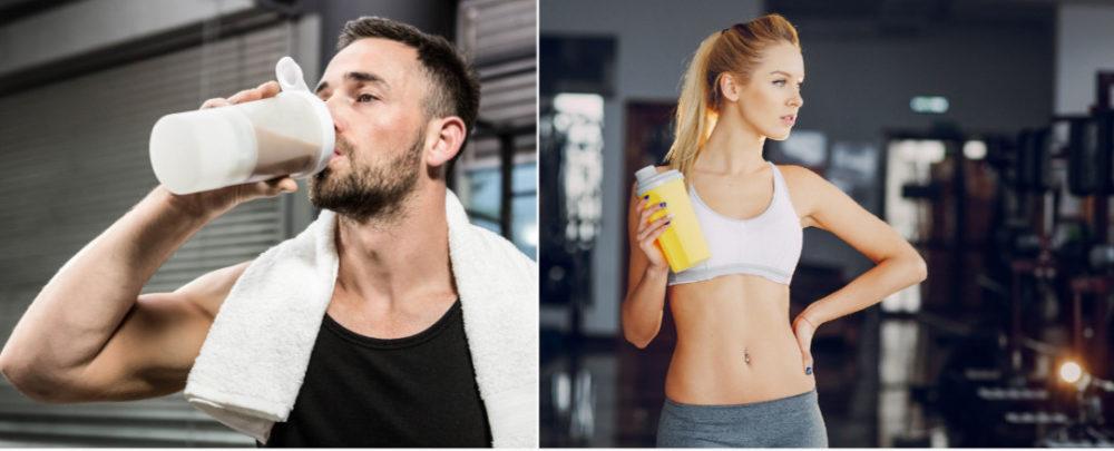 プロテインを飲む男性と女性
