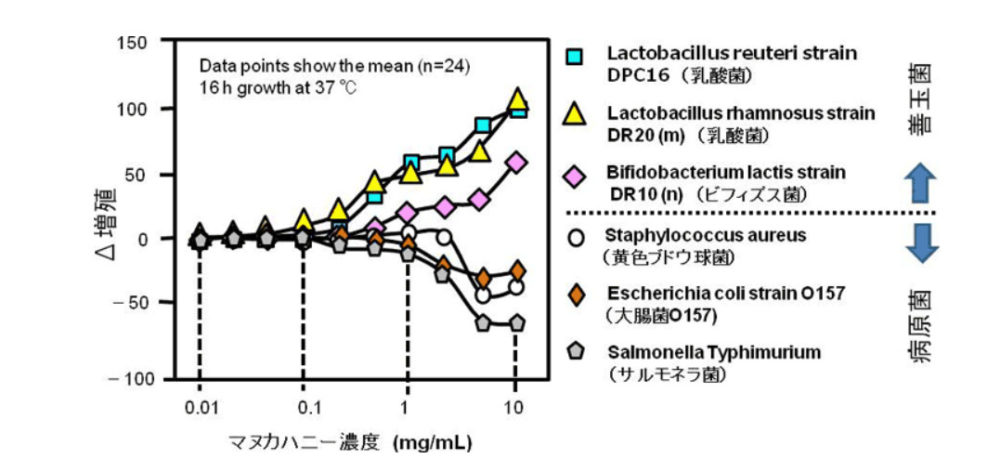 マヌカハニーの実験グラフ