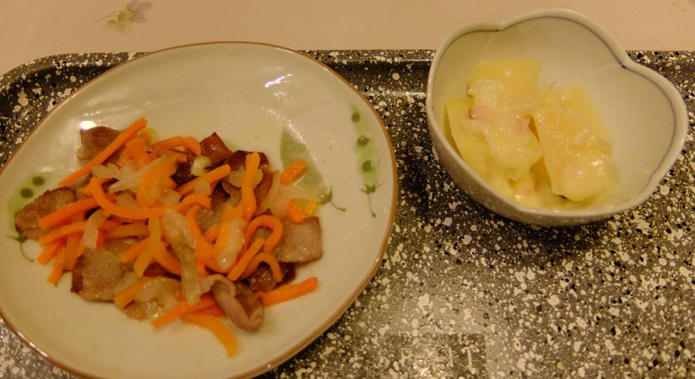 豚肉マリネとジャーパンポテトの完成