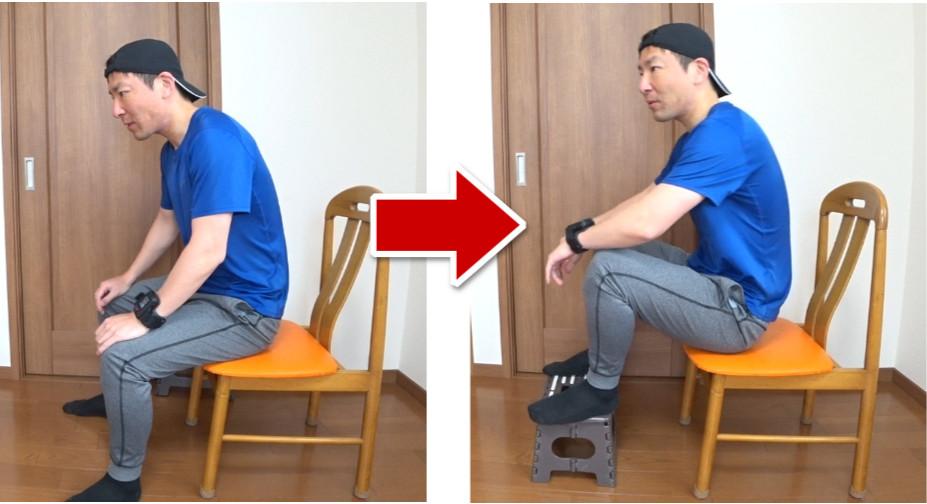 踏み台を使わない場合と使う場合