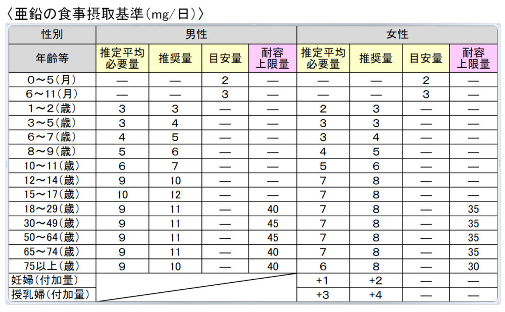 亜鉛の摂取目安量