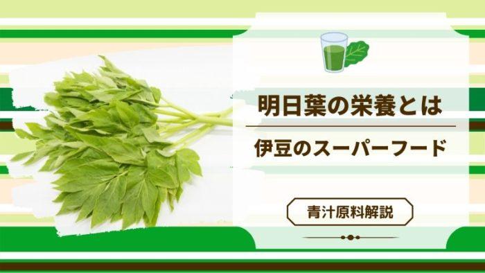 青汁原料「明日葉」の栄養が凄すぎ!伊豆のスーパーフードの実力を見よ
