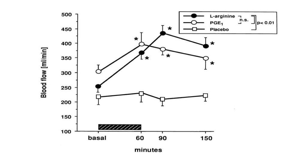 NOブースターを飲んでから一酸化窒素が増えるまでの時間グラフ